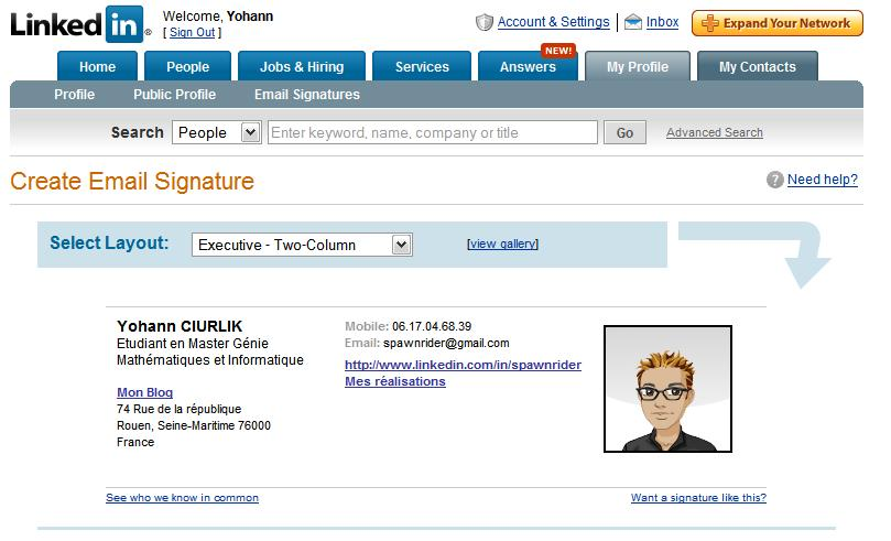 Connu LinkedIn : Signatures sous Outlook 2007 - Spawnrider.Net XB82