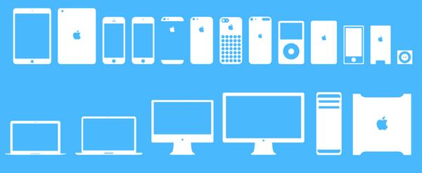 Icones Flat UI Apple devices